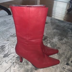 MODA red pointed toe heeled leather  boots 6.5